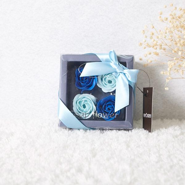 ABM 비누꽃플라워박스 블루 [제작 대량 도매 로고 인쇄 레이저 마킹 각인 나염 실크 uv 포장 공장 문의는 네이뽕]