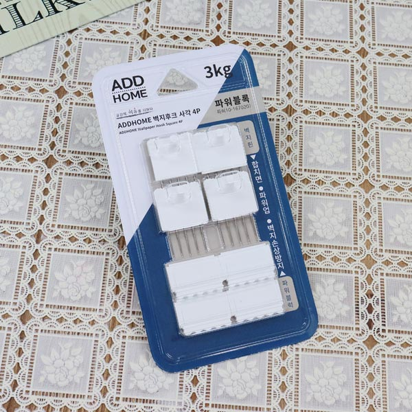 에드홈타공벽지후크 사각4 화이트 [제작 대량 도매 로고 인쇄 레이저 마킹 각인 나염 실크 uv 포장 공장 문의는 네이뽕]