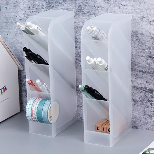 ABM(C) 스탠드 4단 연필꽂이(투명) [제작 대량 도매 로고 인쇄 레이저 마킹 각인 나염 실크 uv 포장 공장 문의는 네이뽕]