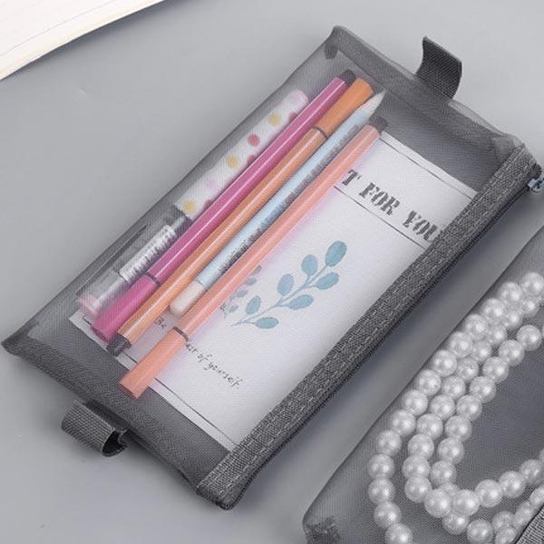 ABM(C) 메쉬 필통파우치 L 그레이 [제작 대량 도매 로고 인쇄 레이저 마킹 각인 나염 실크 uv 포장 공장 문의는 네이뽕]