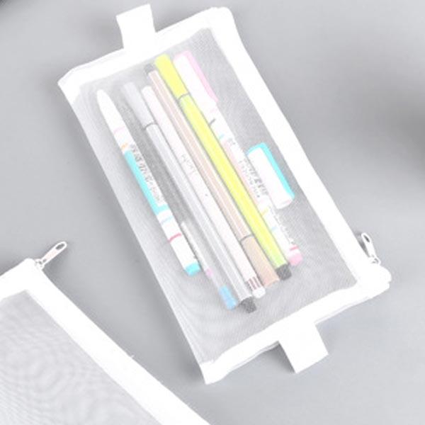 ABM(C) 메쉬 필통파우치 L 화이트 [제작 대량 도매 로고 인쇄 레이저 마킹 각인 나염 실크 uv 포장 공장 문의는 네이뽕]