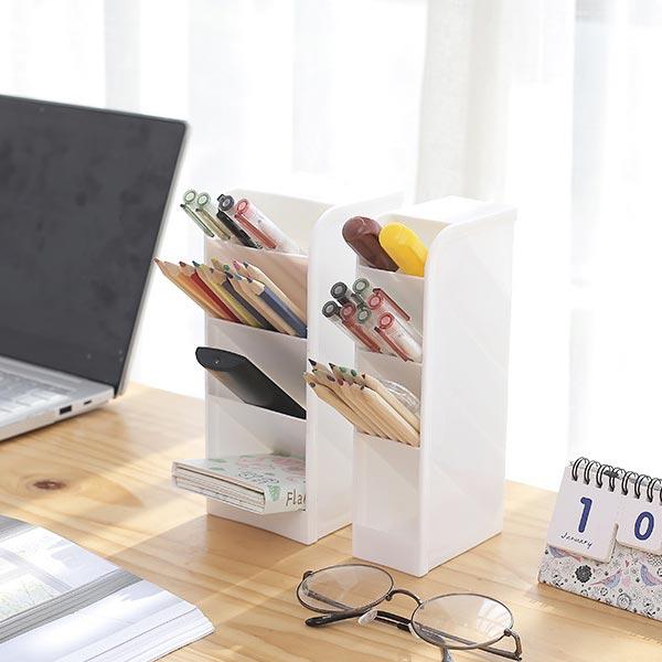 ABM 스탠드 와이트 4단 연필꽂이 화이트 [제작 대량 도매 로고 인쇄 레이저 마킹 각인 나염 실크 uv 포장 공장 문의는 네이뽕]