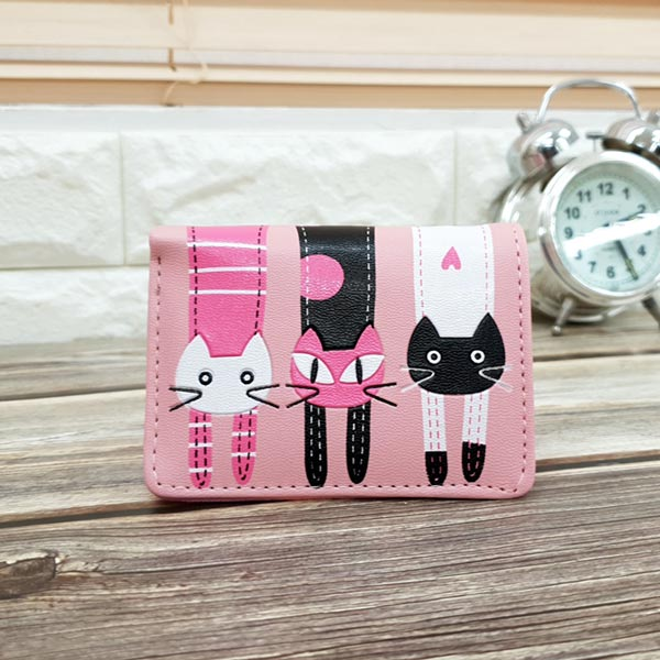 abm 고양이 3단 반지갑 핑크캣