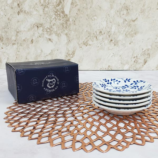 블루 에가와리 접시 넝쿨 12cm 5개