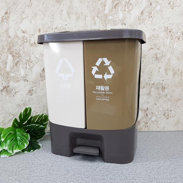 페달형 분리수거 쓰레기통 40L [제작 대량 도매 로고 인쇄 레이저 마킹 각인 나염 실크 uv 포장 공장 문의는 네이뽕]