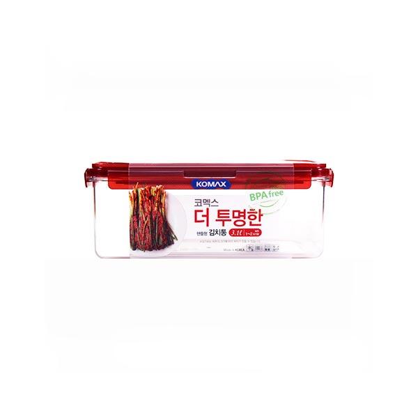 코멕스 더투명한 김치통 직사각 3.1L (핸들형)