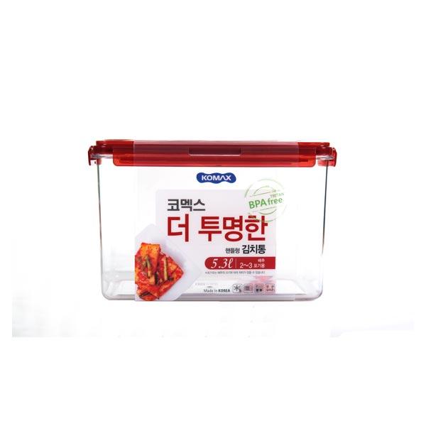 코멕스 더투명한 김치통 직사각 5.3L (핸들형)