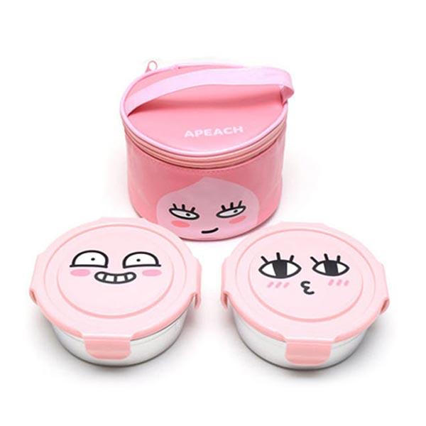 카카오 원형 스텐 가방도시락 2단 (어피치)