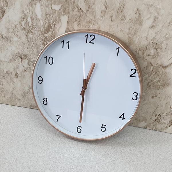 ABM 심플 저소음 숫자벽시계 골드화이트