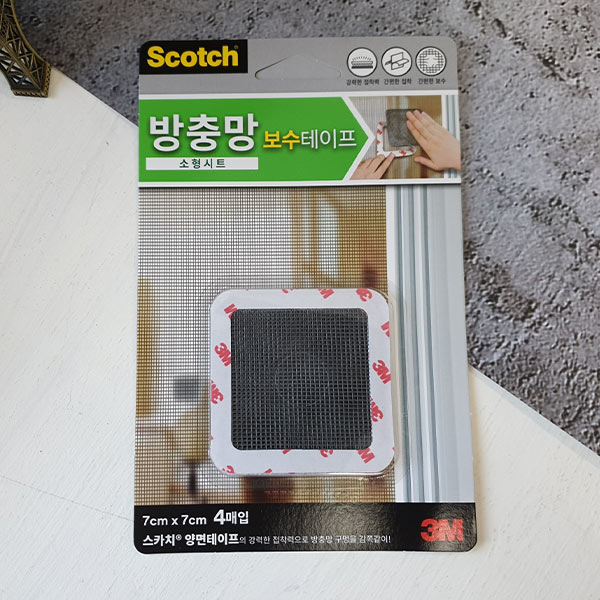 스카치 방충망 보수테이프 소 7x7cm 4개입