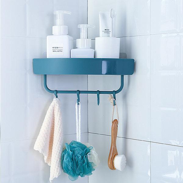 ABM 접착 욕실 코너 고리선반 (화이트)
