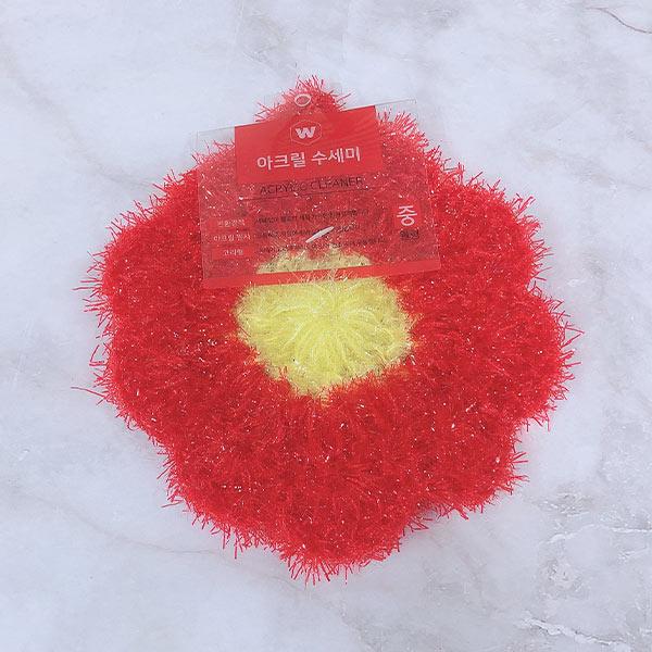 아크릴 수세미 원형(색상랜덤)