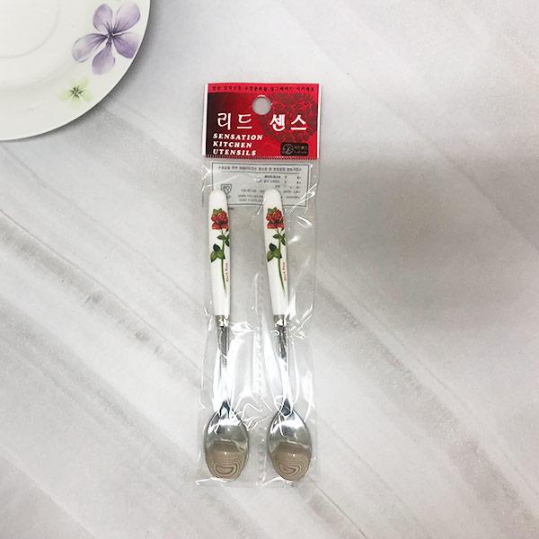 진흥티스푼-레드장미 2p [제작 대량 도매 로고 인쇄 레이저 마킹 각인 나염 실크 uv 포장 공장 문의는 네이뽕]