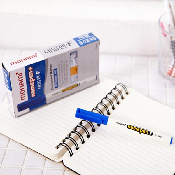 모나미네임펜(중간글씨용)-블루12P [제작 대량 도매 로고 인쇄 레이저 마킹 각인 나염 실크 uv 포장 공장 문의는 네이뽕]